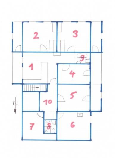 Wohnungsplan mit Beschreibung im Haupttext