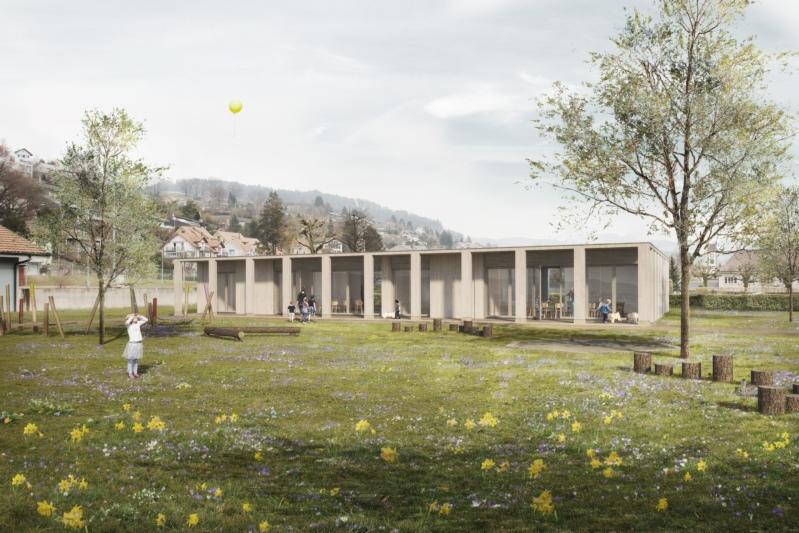 So wird der neue Doppelkindergarten neben dem Friedhof aussehen. Die Aussenraumgestaltung ist noch in Planung. (Bild: zvg)