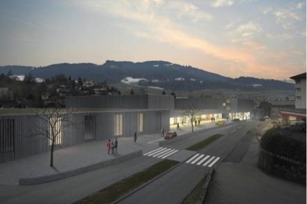 Zwei Mieter stehen schon fest: Im Gewerbepark ziehen ein Volg und eine Bäckerei mit Café ein. Blick Richtung Dorfzentrum. (Bild: zvg)