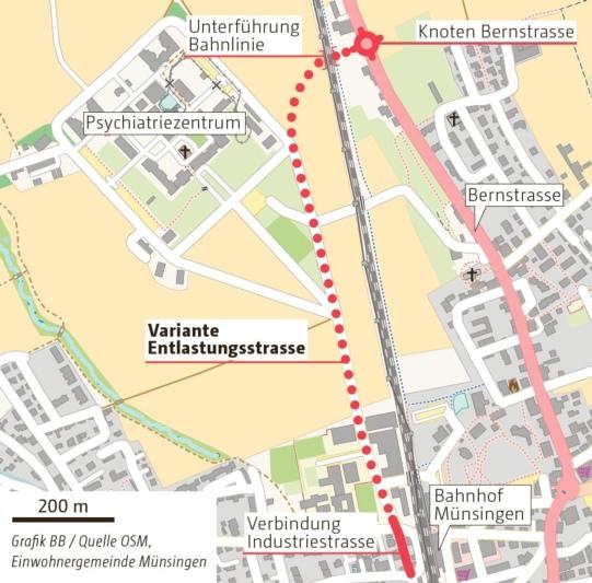 So soll die Entlastungsstrasse verlaufen. (Grafik: Berner Zeitung BZ)