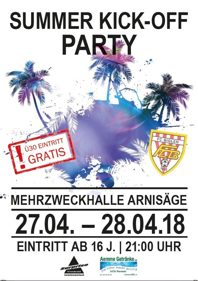 Flyer Summer Kick-Off Party FC Biglen