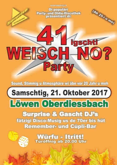 "Flyer ""Weisch no?"" Party 41 Oberdiessbach"