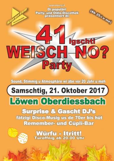 """Flyer """"Weisch no?"""" Party 41 Oberdiessbach"""