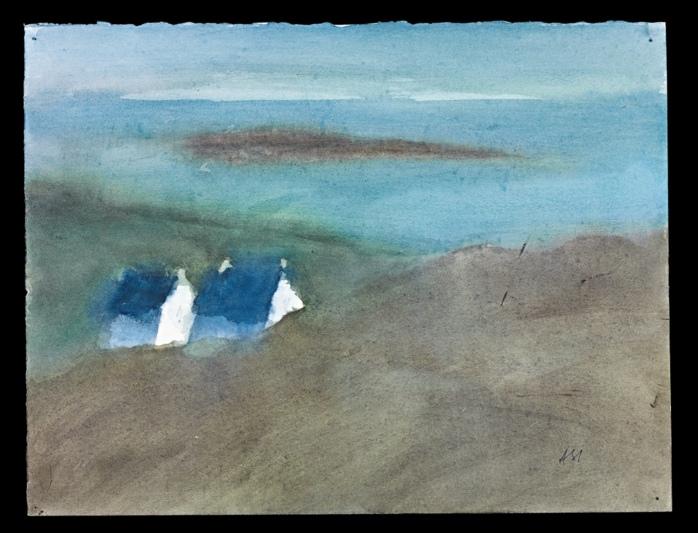 Viele seiner Aquarelle stellen Landschaften dar. Hier die Isle of Skye vor der Westküste des schottischen Festlands.