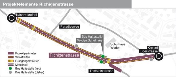 Die Richigenstrasse soll zwischen dem Käsereikreisel und dem Kreisel Eigerstrasse für den Fuss- und Veloverkehr sicherer werden. (Grafik: Worb.ch)