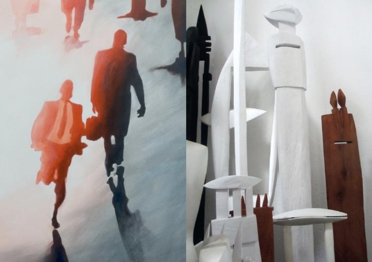 Erzählen vom Mensch-sein: Bruno Fausers Gemälde und Andreas Röthlisbergers Skulpturen. (Bild: zvg)