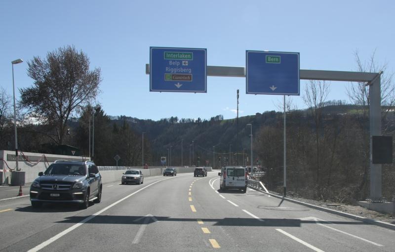 Beim Anschluss Rubigen wird die Einfahrt Richtung Bern (rechts im Bild) während einer Nacht gesperrt. (Bild: zvg)