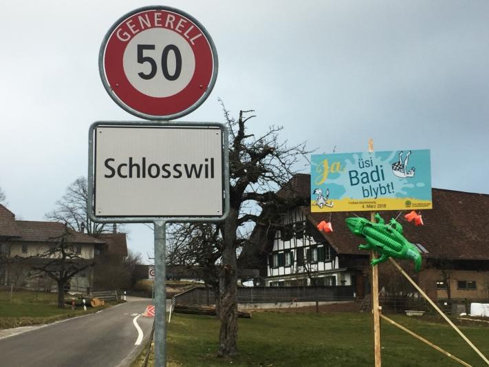 Mit Krokodil und Schwimmflügeli: Die Freie Wählergruppe hat am Dienstagabend beim Dorfeingang von Schlosswil sowie an zwei weiteren Standorten Installationen aufgestellt, um für ein Ja zu werben. (Bild: zvg)