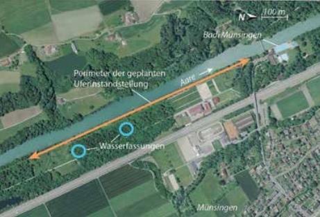 Übersicht der geplanten Uferinstandstellung (Luftbild: Swisstopo 2016 / Münsinger Info)
