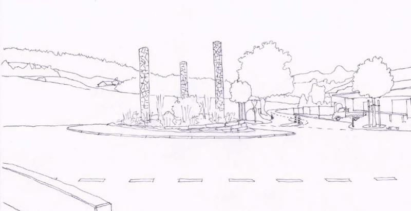 So sah die Skizze aus, mit der die Gartenbaufirma Graf die Jury aus Gemeinde- und Vereinsvertretern überzeugte.