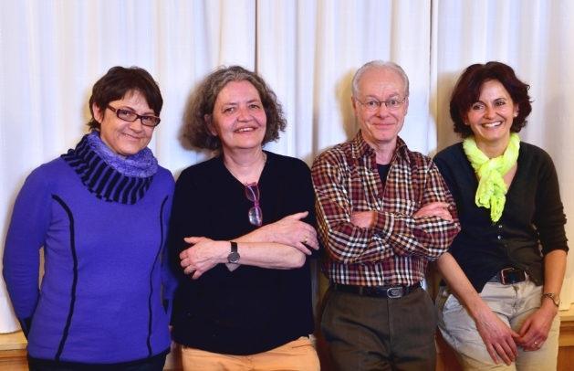 Annj Harder, Vera Wenger und Daniela Fankhauser (von links) führen neu das Präsidium der Grünen Münsigen. Jürg Schacher tritt zurück. (Bild: Brand-New Living Pictures / zvg)