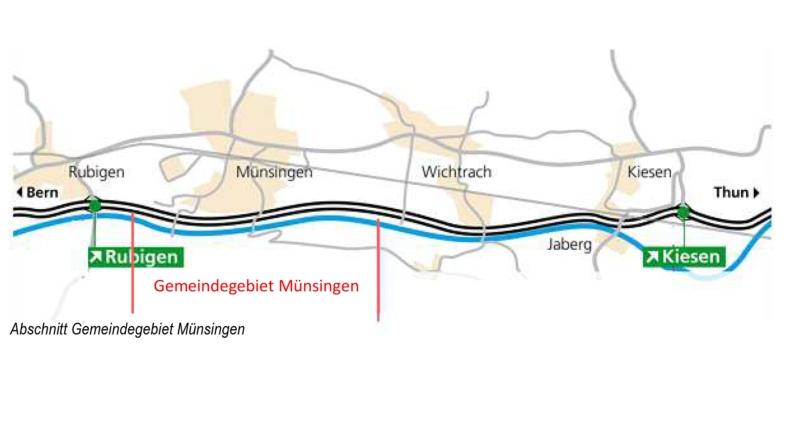 In diesem Bereich möchte die GLP Münsingen Tempo 100 statt 120 auf der Autobahn. (Grafik: zvg)