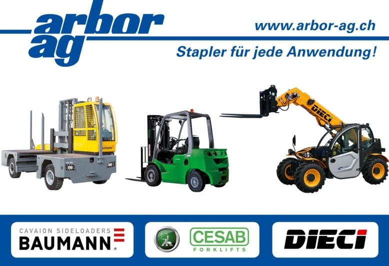 Arbor AG: Wir vertreten 8 top Marken exklusiv in der Schweiz. Dadurch bieten wir das wahrscheinlich breiteste Produktesortiment im Bereich Hub- und Hebegeräte (Stapler).